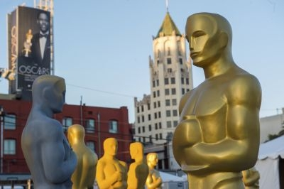 Oscar statuettes are seen during preparations for 2016's 88th Annual Academy Awards