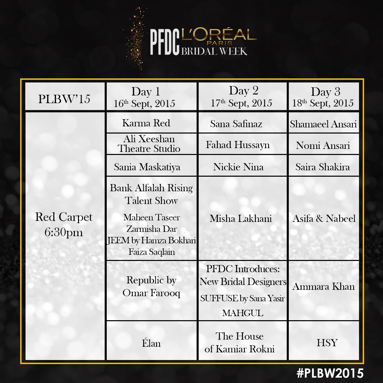 PFDC L'Oréal Paris Bridal Week 2015 - Schedule [F] (1)