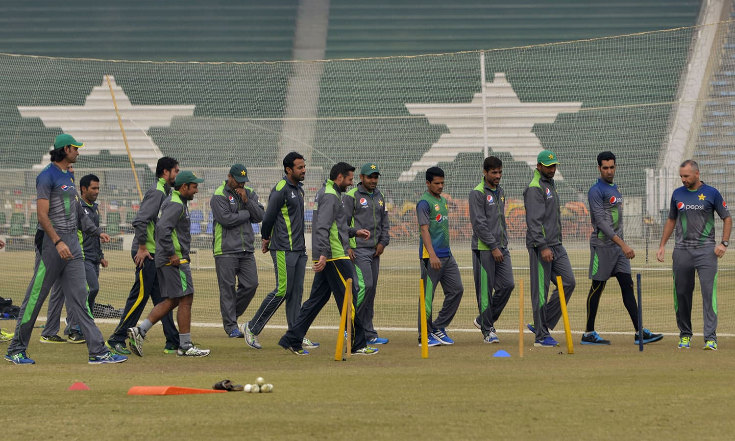 Pakistani cricketers practice during a camp for the Pakistan Super League (PSL) in Lahore on December 22, 2015. The first edition of the PSL Twenty20 league will be held in Dubai and Sharjah from February 4. Five teams from Karachi, Islamabad, Quetta, Lahore and Peshawar will compete in the league, designed on the lines of the Indian Premier League and Australia's Big Bash. AFP PHOTO / Arif ALI