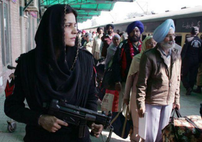 Pakistani Female Commando Guarding Sikh Pilgrims at Wagah Railway Station