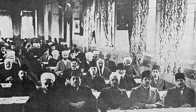 A view of the conference in Jerusalem. Iqbal is seen sitting on the extreme right in the first row(1931)