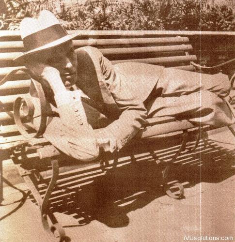 Quaid-e-Azam posing on the bench
