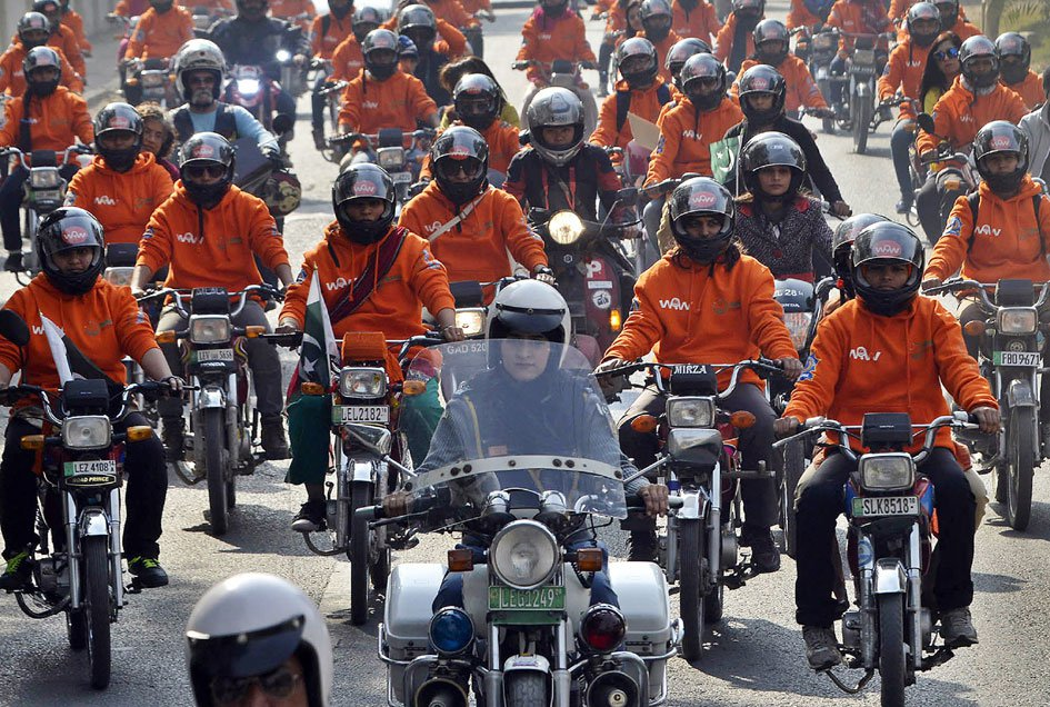 Women MotorCycle Rally near the Mall