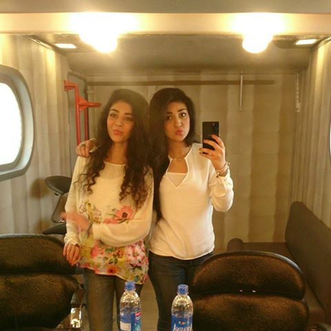 Pakistani actress Sarah Khan with sister Noor Khan