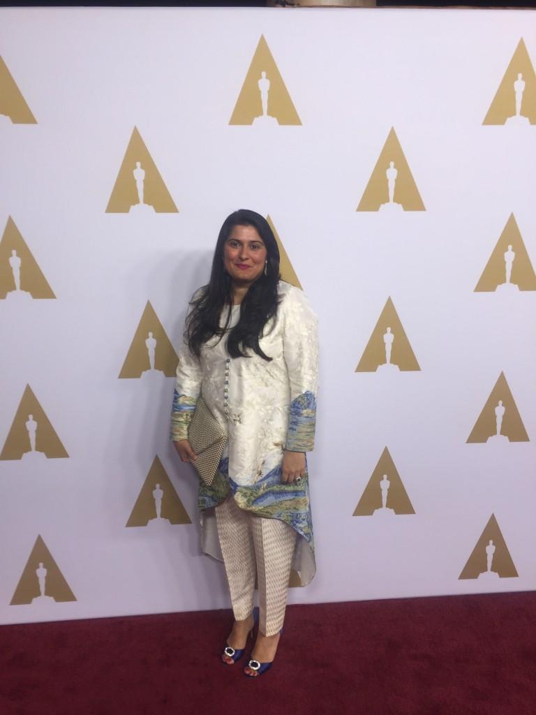 #SharmeenObaidChinoy wearing #SaniaMaskatiya and #Sherezad at the 88th Academy Award #NomineesLuncheon (10)