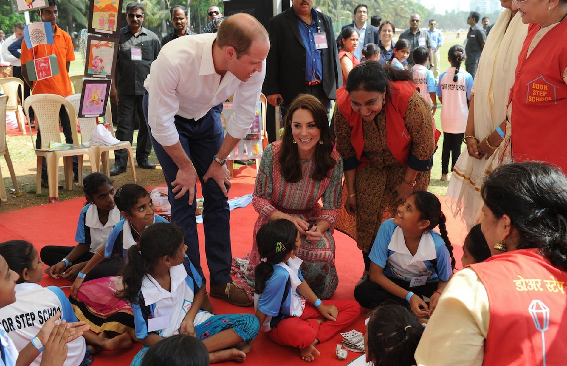 Royal Couple Plays Cricket with Indian Children