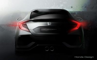 The back of Honda's upcoming five-door Civic prototype is revealed ahead of the Geneva Motor Show