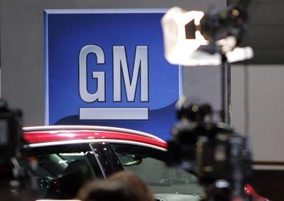 The logo of American carmaker General Motors (GM)