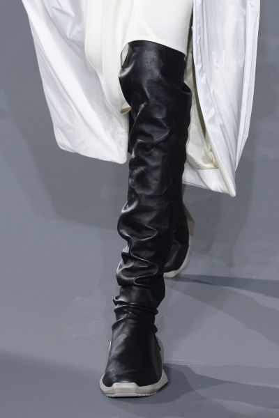 Thigh-high sneakers at Rick Owens