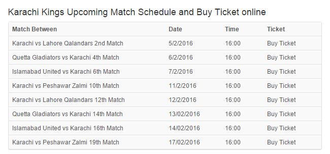 Upcoming match schedule for Karachi Kings PSL 2016