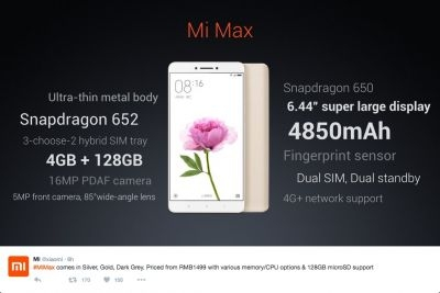 Xiaomi tweeted promotional pictures of its new Mi Max smartphone upon its launch on May 10.