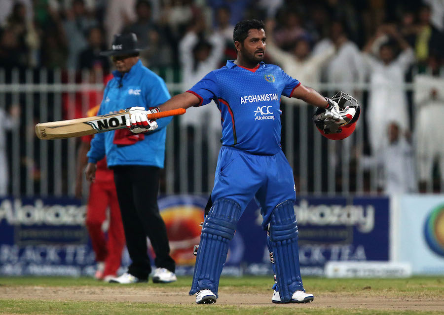 Pic by Chris Whiteoak/whiteoakpictures Cricket: Afghanistan v Zimbabwe. 2nd T20 International. Sharjah cricket stadium, Sharjah, UAE. Afghanistan's Mohammed Shahzad makes 50   © Picture Copyright >> Christopher Whiteoak  >> 0558117530