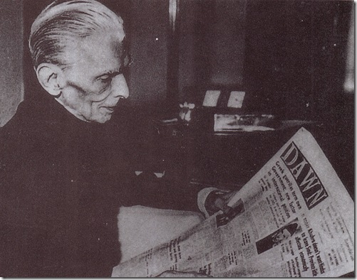 quaid reading daily Dawn newspaper in English