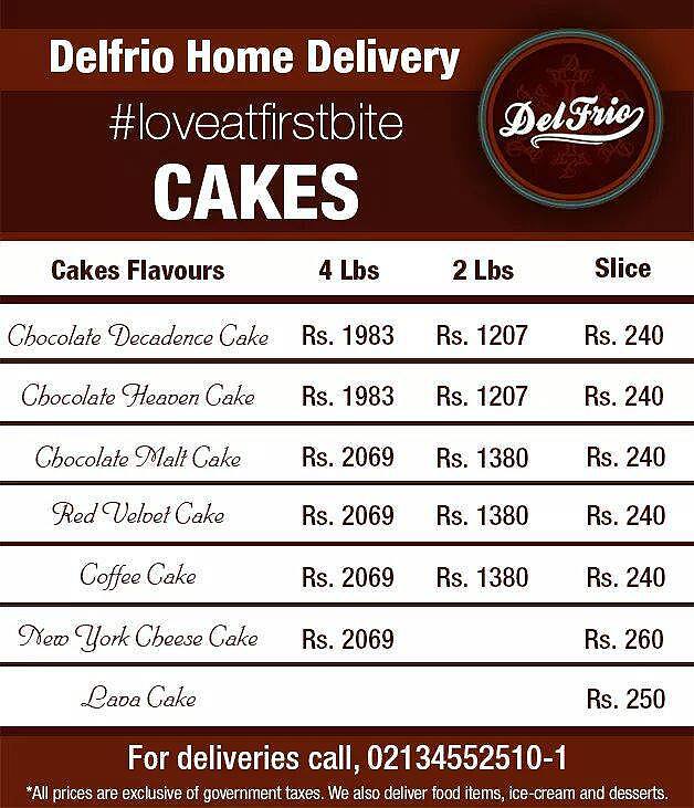 s Cakes Home Delivery Menu for Karachi