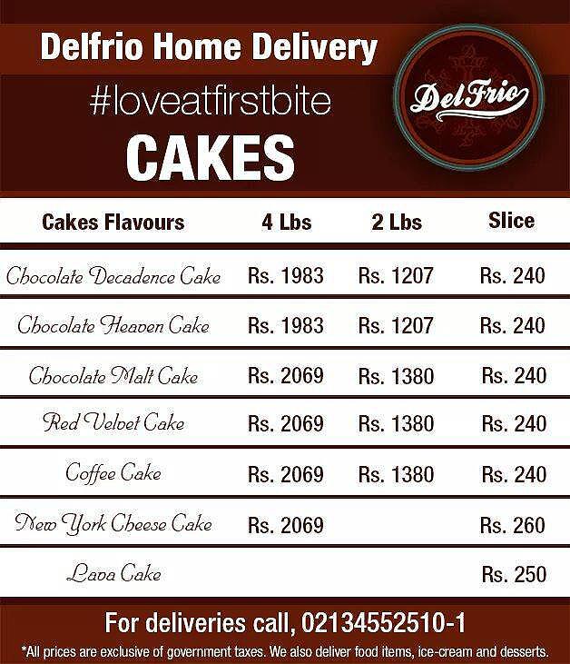 S Cakes Home Delivery Menu For Karachi