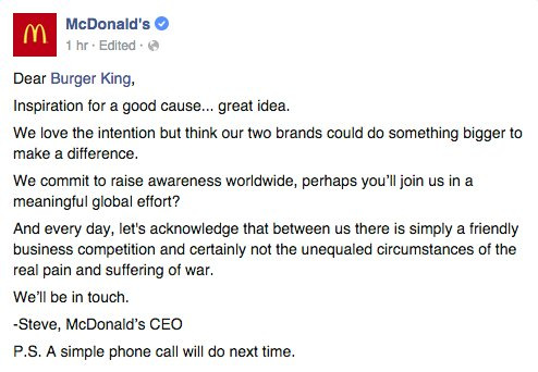McDonald's response to Burger King