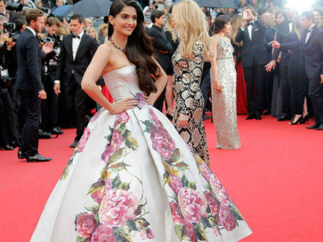Sonam Kapoor photographed at the Cannes Film Festival in 2013.