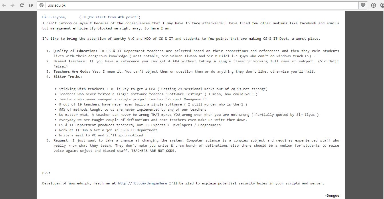 university of sargodha hacked
