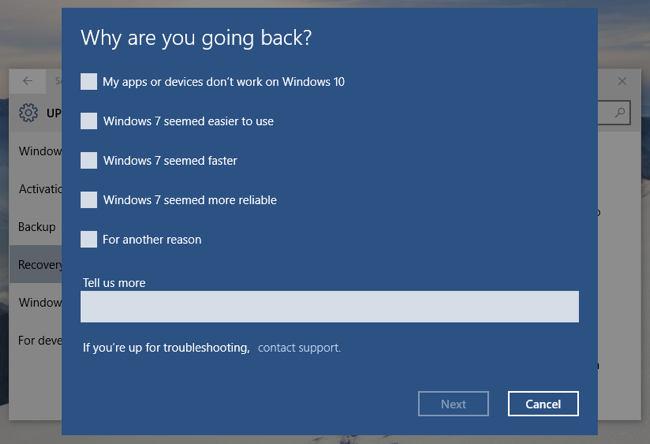 Downgrade/Uninstall Windows 10